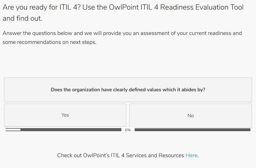 ITIL 4 Readiness evaluation tool